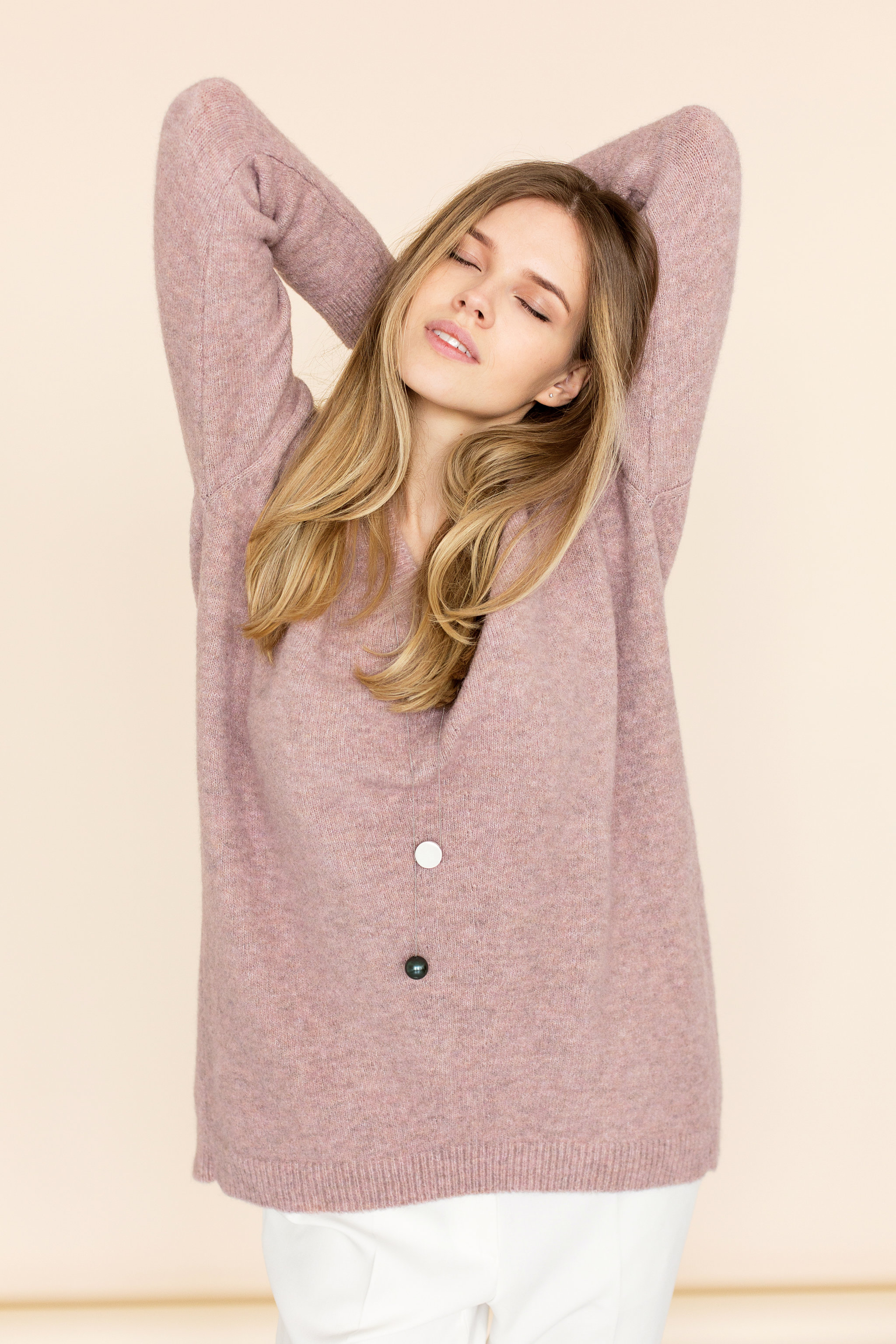 light choker dress jluxlabel lorna sweater oversized products pink